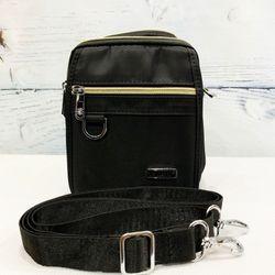 Túi đeo chéo vải dù màu đen chống nước phối dây kéo mạ vàng TDC0005 giá sỉ