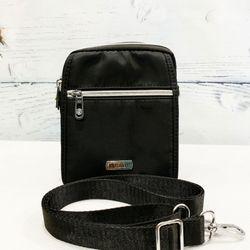Túi đeo chéo vải dù chống nước màu đen phối dây kéo bạc sáng TDC0006 giá sỉ