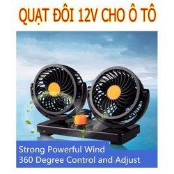 Quạt 12V cho oto/Quạt máy đôi mini 12v điều chỉnh 360 độ giá sỉ