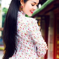 Áo dài hoa nhí màu hồng giá sỉ