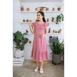 Đầm bầu nhún bèo bi hồng giá sỉ