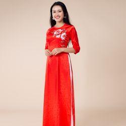 Áo dài gấm thêu cao cấp màu đỏ giá sỉ