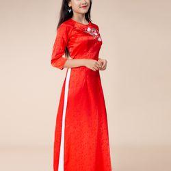 Áo dài gấm thêu cao cấp màu đỏ giá sỉ, giá bán buôn