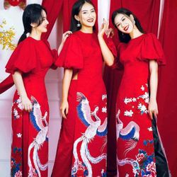Áo dài tay bồng màu đỏ giá sỉ