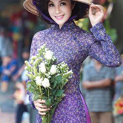 Áo dài hoa nhí màu tím giá sỉ