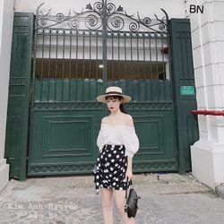 set bộ đồ nữ đẹp chất cá tính dễ thương giá rẻ áo trễ vai phối ren chân váy rúm bi BN 48191 Kèm Ảnh Thật giá sỉ