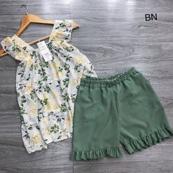 set bộ đồ nữ đẹp chất cá tính dễ thương giá rẻ áo cánh tiên hoa lá quần đũi bèo BN 96472 Kèm Ảnh Thật giá sỉ
