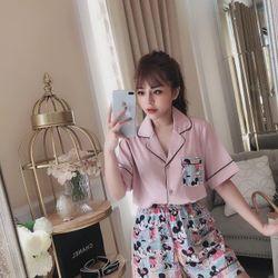 đồ bộ ngủ mặc nhà nữ dễ thương bằng vải lụa đẹp giá rẻ mickey BN 08535 Kèm Ảnh Thật giá sỉ