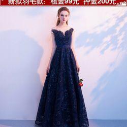 Đầm dạ hội xanh dáng dài giá sỉ