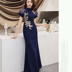 Đầm dạ hội thêu kim sa xanh giá sỉ