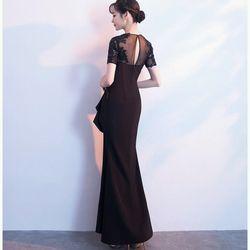Đầm dạ hội đen phối lưới giá sỉ