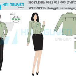 Sơ mi đồng phục kate silk thêu logo