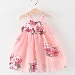 Hàng về TE1234 Váy voan 2 dây đan chéo váy 2 lớp mềm mịn hoa hồng nổi bật giá sỉ