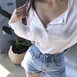 áo phông thun nữ đẹp kiểu hàn quốc dễ thương giá sỉ trơn dài tay cổ cúc BN 43712 Kèm Ảnh Thật