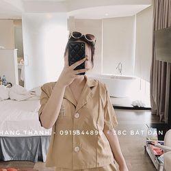 set bộ đồ nữ đẹp chất cá tính dễ thương giá rẻ đũi cổ vest thêu logo BN 27256 Kèm Ảnh Thật giá sỉ