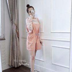 set bộ đồ nữ đẹp chất cá tính dễ thương giá rẻ áo dài tay quần yếm rút eo BN 08269 Kèm Ảnh Thật giá sỉ