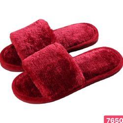 Dép lông nhung màu đỏ đô đế nhựa mang trong nhà hay ngoài phố đều xinh nhé giá sỉ, giá bán buôn