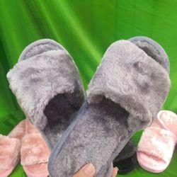 Dép lông nhung màu xám lông chuột đế nhựa mang trong nhà hay ngoài phố đều xinh nhé giá sỉ