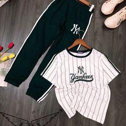 bộ NY New York Yankees sọc mix quần Jogger bé gái giá sỉ tphcm