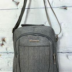 Túi đeo chéo vải màu xám sáng có quai xách thời trang TDC0016 giá sỉ