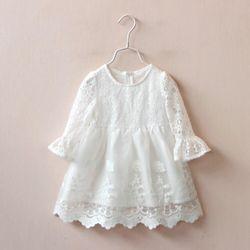 Váy ren trắng tay loe điệu đà cho công chúa giá sỉ
