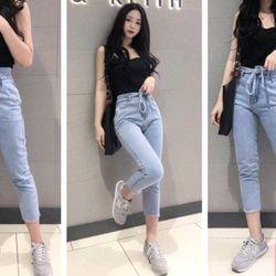 Quần baggy jeans thắt nơ 2 màu giá sỉ