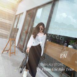 set bộ đồ nữ đẹp chất cá tính dễ thương giá rẻ váy ba lỗ áo dài tay BN 85779 giá sỉ
