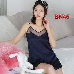 BN46 - Bộ ngủ quần đùi áo 2 dây chất phi lụa viền lưới giá sỉ