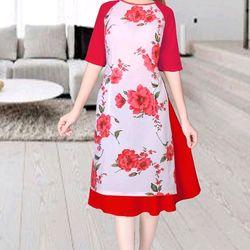 Áo dài cách tân hoa hồng đỏ giá sỉ