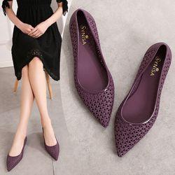 Giày búp bê nữ đi mưanhựa dẻo mủi nhọn sang trọnghoa văn đang chéo -307 giá sỉ, giá bán buôn