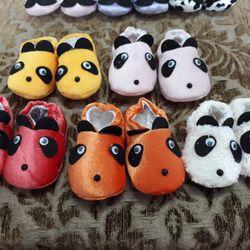 Giày tập đi cho bé giày vớ vải giữ ấm cho bé sơ sinh từ 0-18 tháng tuổi hình gấu trúc xinh xắn giá sỉ