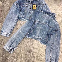 Áo khoác jean nữ croptop giá sỉ