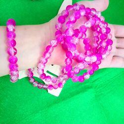 chuỗi đeo tay phong thủy Vòng tay phong thủy 8limàu hồng giá sỉ