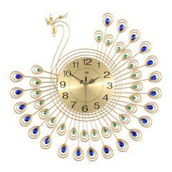 Đồng hồ trang trí chim công cách điệu xòe cánh xanh JT1381MB JJT
