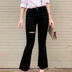 Quần ống loe jeans rách đùi giá sỉ