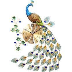Đồng hồ trang trí chim công đậu cành mai WM88X treo đứng JJT