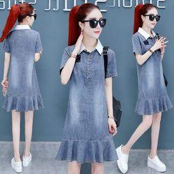 Đầm Jean Cổ Sơ Mi Đuôi CáTrẻ Trung giá sỉ