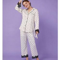 Pijama tay dài quần dài bi phối ren giá sỉ
