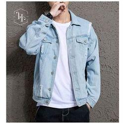 Áo khoác jeans xanh rách unisex nam nữ giá sỉ