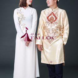 áo dài bưng quả giá sỉ nữ trắng giá sỉ