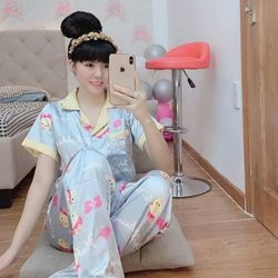 Pijama lụa hình satin bóng giá sỉ
