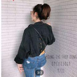 Áo Khoác Jeans Nữ Khoác Nút Sau Đen giá sỉ