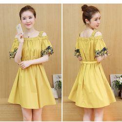 Đầm bầu suông phối tay thêu hoa có 2 màu vàng chanh và trắng giá sỉ, giá bán buôn