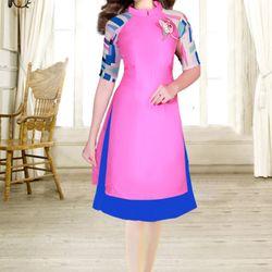 áo dài cách tân màu hồng phối tay họa tiết giá sỉ