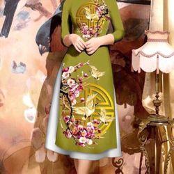 Áo dài cách tân kèm váy họa tiết phúc lộc thọ giá sỉ