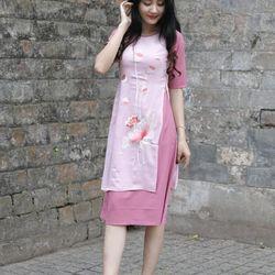 Set Aó Dài Cách Tân Thêu Sen Liền Váy giá sỉ