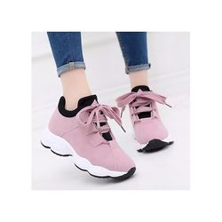 Giày sneaker nữ ulzzang đế gồ kiểu hàn quốc HAPU hồng đen trắng giá sỉ