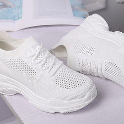 Giày sneaker nữ độn đế đẹp cổ chun HAPU trắng giá sỉ