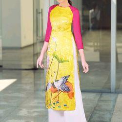 Áo dài truyền thống họa tiết hoa sen giá sỉ
