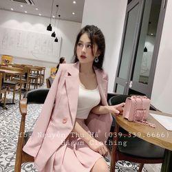 set bộ đồ nữ đẹp chất cá tính dễ thương giá rẻ áo vest dài tay chân váy xếp li BN 08657 Kèm Ảnh Thật giá sỉ